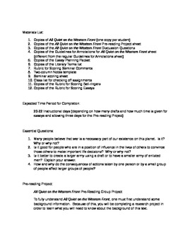 Common Core friendly Unit Plan for All Quiet on the Western Front