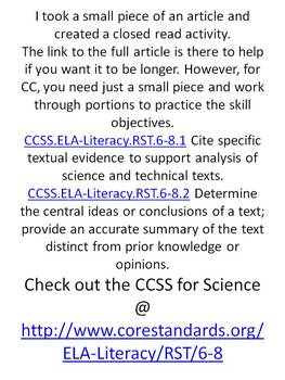 Fun Science Reading w/Common Core Standards