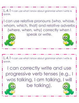 4th Grade Common Core Student Friendly Language Arts Objectives