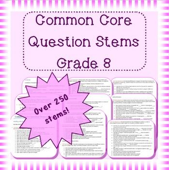 Common Core question stems for grade 8