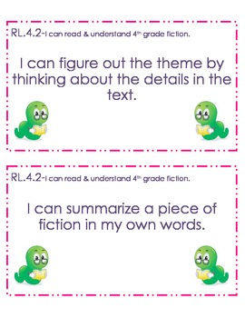 4th Grade Common Core Student Friendly Reading Objectives