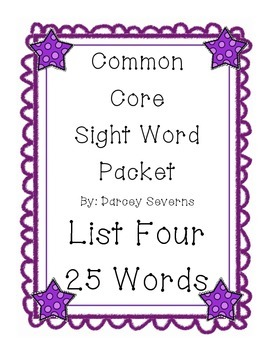 Common Core sight word activity packet 4