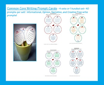 Common Core writing prompts cards preview freebie