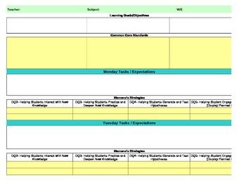 ... Common Core/Marzano Interactive Lesson Plan Template Fifth Grade  Reading/LA  Lesson Plan Templates Free
