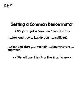 Common Denominator Notes