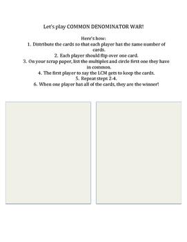 Common Denominators Lesson Packet