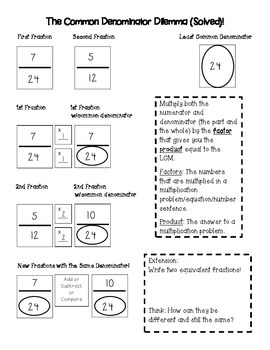 Least Common Denominators and Least Common Multiples Made Easy
