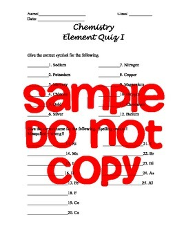 Element Study List and Element Quiz Packet WITH KEYS