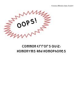 Common Errors Bundle: Homonym and -phone quiz and fun activity!