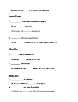 Common Errors Guided Notes