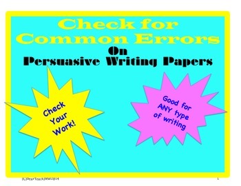 Common Errors: Persuasive writing issues or any other