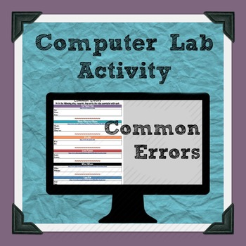 Common Errors and Homophone Computer Lab Activity
