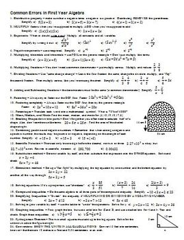 Common Errors in First Year Algebra (Editable)
