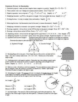 Common Errors in Geometry Spring 2008