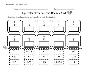Common Faction & Decimal Equivalents Bundle