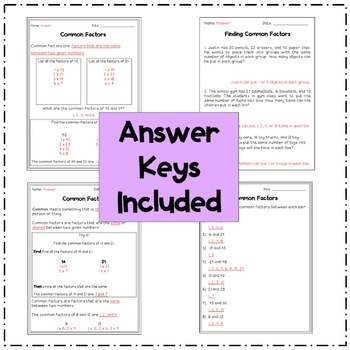 Find Common Factors of Two Numbers (8 Worksheets)