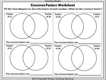 Common Factors Activity