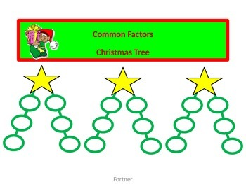 Common Factors Christmas Tree with Worksheet