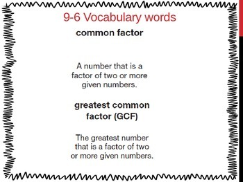 Common Factors and Greatest Common Factor (5th Grade EnVision Math Power Point)