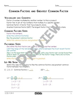 Common Factors and Greatest Common Factor Math Video and Worksheet