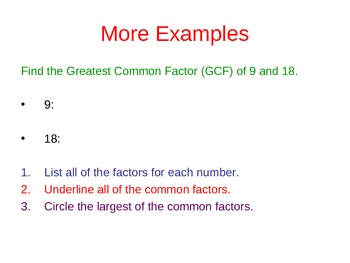 Common Factors and Greatest Common Factors