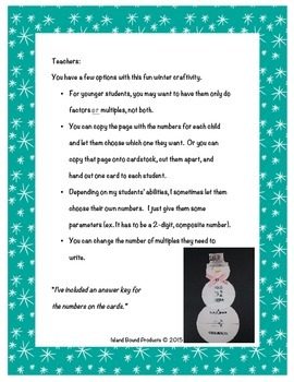 Common Factors and Multiples Snowman