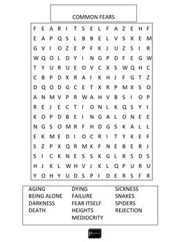 Common Fears Word Search