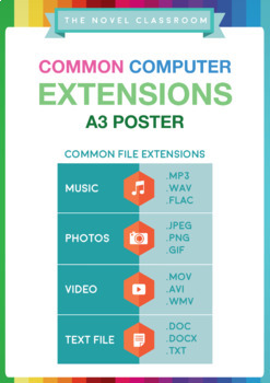 Common File Extensions Poster - For Information/Computer/Digital Technologies
