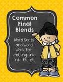 Common Final Blends Word Sorts and Word Work Activities: Print and Go!
