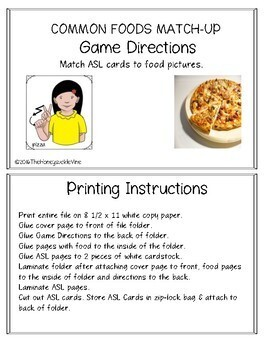 Common Foods Match-Up File Folder Game