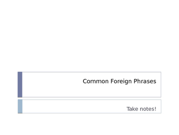 Common Foreign Phrases