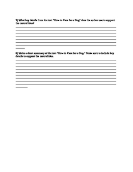 Common Formative Assessment - Main Idea/Key Details/Summary