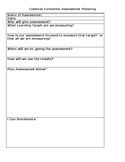 Common Formative Assessment Planning Form