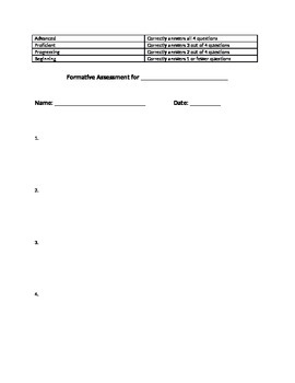 Common Formative Assessment Template for Math
