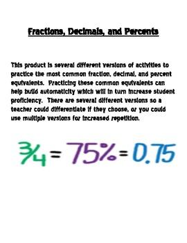 Common Fraction, Decimal, Percent Equivalents