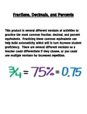 Common Fraction, Decimal, Percent Equivalents