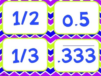 Common Fractions and Decimals Matching Cards!