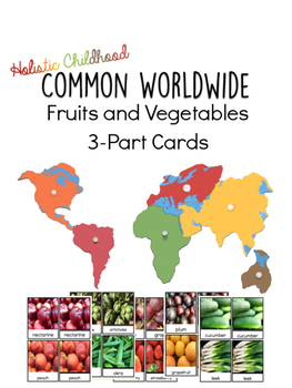 Common Fruits and Vegetables 3-Part Cards