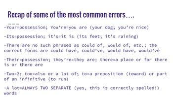 Common Grammar Errors: Presentation, Notes, and Practice