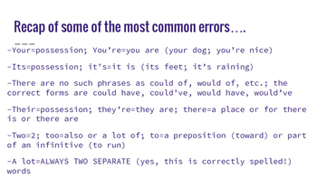 Common Grammar Errors: Presentation, Notes, and Practice