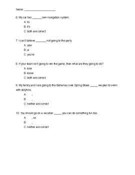 Common Grammar Mistakes Quiz - 8th Grade