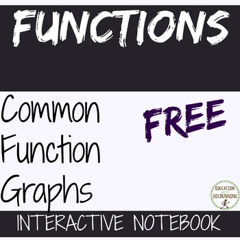 Common Graphs of Functions interactive notebook page Algebra 2 and Precalculus