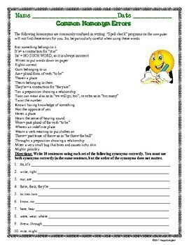 Common Homonyms Worksheet - Commonly Confused Words by HappyEdugator