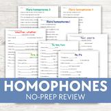 Common Homophones Worksheets