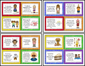 Common Idioms, Adages and Proverbs Bulletin Board / Display Cards