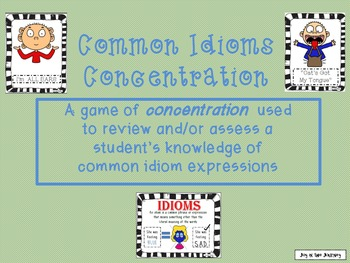 Common Idioms Concentration Activity