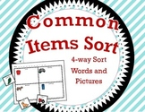 Common Items Sort / 4-way Cut and Paste Sort / Words Supported with Pictures