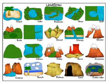 common landforms clipart version mini matching cards tpt rh teacherspayteachers com basin landform clipart plateau landform clipart