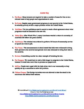 Common Latin Terms and Phrases in American Government Worksheet
