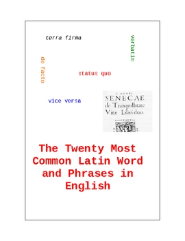 Common Latin Words in English: List, Teacher's Guide, and Test